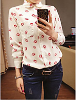 Women's Going out Casual/Daily Work Sexy Cute Shirt,Geometric Square Neck Long Sleeve Polyester