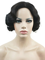 New Short Finger Wave Black Full Synthetic Wig Fashion Retro Wigs