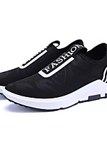Men's Sneakers Comfort PU Spring Fall Outdoor Lace-up Flat Heel Red Black Under 1in