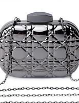 L.west Women Elegant High-grade Geometry Stereo Ling plaid Metal Box Evening Bag