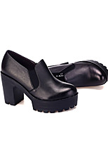 Women's Heels Formal Shoes Leather Spring Fall Office & Career Chunky Heel Coffee Black 5in & over