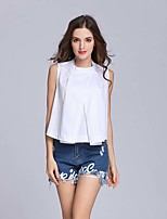 Women's Going out Casual/Daily Sexy T-shirt,Geometric Round Neck Sleeveless Cotton