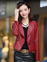 Для женщин На каждый день Весна Кожаные куртки Лацкан с тупым углом,просто Однотонный Короткие Длинный рукав,Полиуретановая