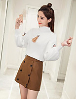Women's Going out Casual/Daily Holiday Cute Street chic Active Shirt Skirt Suits,Solid Crew Neck Long Sleeve
