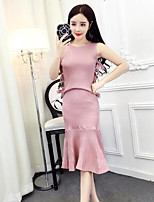 Women's Casual/Daily Simple Summer T-shirt Skirt Suits,Solid Round Neck Sleeveless Micro-elastic