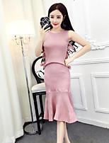 Damen einfarbig Einfach Lässig/Alltäglich T-Shirt-Ärmel Rock Anzüge,Rundhalsausschnitt Sommer Ärmellos Mikro-elastisch