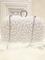 Women Evening Bag Silk All Seasons Event/Party Party & Evening Club Baguette Pearl Detailing Magnetic Apricot White