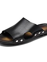 Men's Sandals Comfort Cowhide Summer Casual Comfort Flat Heel Coffee Black White Flat