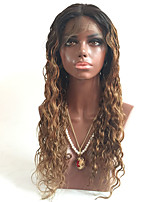 Cabelo virgem brasileiro não processado loiro ombre laço frente perucas de cabelo humano com cabelo do bebê # 1b / # 30 ombre laço peruca