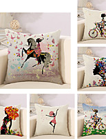 Set Of 6 Colorful Flower Fairy Printing Pillow Cover Classic Cotton/Linen Pillow Case Sofa Cushion Cover