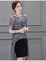 Women's Going out Casual/Daily Club Simple Cute Street chic Blouse Skirt Suits,Leopard Round Neck Short Sleeve Chiffon Micro-elastic