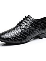Maßfertigung Herren Latin Leder Sneakers Professionell Niedriger Heel Schwarz 5 - 6,8 cm