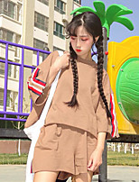 Women's Casual/Daily Simple T-shirt Skirt Suits,Solid Striped Round Neck 3/4 Length Sleeve