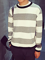 Men's Other Daily Casual Sweatshirt Striped Round Neck Micro-elastic Cotton Long Sleeve Fall