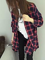 Women's Casual/Daily Simple Shirt,Check Shirt Collar Long Sleeve Cotton