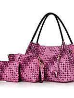 Women Bag Sets PU All Seasons Formal Sports Casual Shell Zipper Purple Gray Black Blue