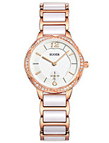 Women's Fashion Watch Japanese Quartz Digital Ceramic Band Silver Rose Gold