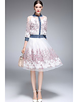 Mujer Adorable Noche Casual/Diario Primavera Verano Camisas Falda Trajes,Escote Redondo Floral Malla Microelástico