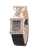 Women Simulated Diamond Watch Bracelet Watch Quartz PU Band Unique Creative Black