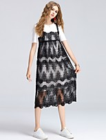 8CFAMILY Women's Daily Casual Date Birthday Party Cute Street chic Sophisticated Shift Lace DressSolid Round Neck Midi Short SleevePolyester