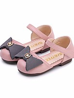 Girls' Flats First Walkers Leatherette Spring Fall Outdoor Casual Walking Magic Tape Low Heel Blushing Pink Silver Black Flat