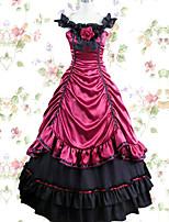 Un Pezzo/Vestiti Gotico Ispirazione Vintage Cosplay Vestiti Lolita Nero Rosso Tinta unita Raso terra Gonna Abito Per Tessuto Modal