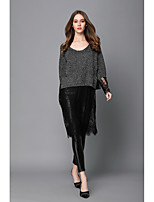 Women's Casual/Daily Simple Long Cashmere,Solid Round Neck Long Sleeve Nylon Spring Medium Micro-elastic