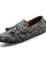 Для мужчин Туфли на шнуровке Мокасины Наппа Leather Лето Для прогулок На плоской подошве Черный Синий Менее 2,5 см