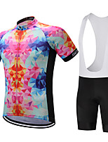 Surea Sports Cycling Jersey with Bib Shorts Men's Short Sleeve BikeBreathable / Quick Dry / Moisture Permeability / 3D Pad / Reduces Chafing