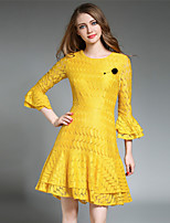 SUOQI Women Dresses Spring Summer Going out Casual Slim Dress Solid Round Neck  Length Sleeve Lace Dress