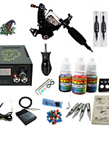 Beginner Tattoo Kit 1 Rotary Machine 3 Inks Sets Power Supply Needles G1C15A2