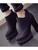 Women's Boots Comfort Leather Spring Casual Screen Color Gray Black Flat