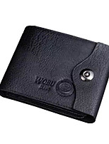Men Coin Purse PU All Seasons Round Zipper Brown Black