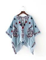 Tee-shirt Femme,Broderie Sexy simple Chic de Rue Eté Manches ¾ Col Arrondi Coton Fin Moyen