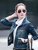 Veste en jean Femme,Couleur Pleine Quotidien Décontracté Printemps/Automne Manches longues Col de Chemise Court Toile de jean