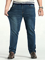 Men's Mid Rise Micro-elastic Straight Jeans PantsSimple Loose Straight Solid YF-3813