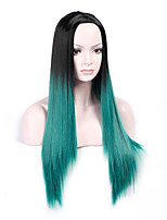 Heat Resistant Cosplay Black To Green Mixed Color Synthetic Wigs Ladies Women Party Straight Hair Full Wig Daily Wearing