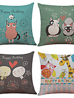 Set of 4 Cute Cartoon Animal Pattern  Linen Pillowcase Sofa Home Decor Cushion Cover