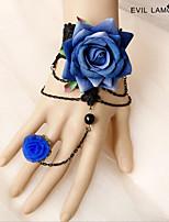 Mulheres Pulseiras em Correntes e Ligações Pulseiras Anéis Vintage Renda Formato de Flor Jóias ParaCasamento Festa Ocasião Especial