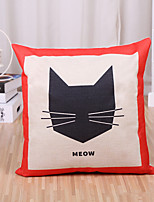 1 Pcs Cartoon Kitty Meow Printing Pillow Cover Creative Cotton/Linen Pillow Case