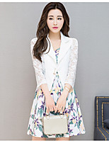 Women's Going out Casual/Daily Cute Summer Blazer,Solid V Neck Long Sleeve Regular Nylon Spandex Lace Cut Out
