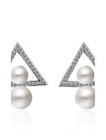 Women's Stud Earrings Imitation Pearl Double Pearls Pearl Platinum Plated Triangle Shape Jewelry 147 Party/Evening Dailywear Gift