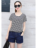 Women's Casual/Daily Simple Summer T-shirt Pant Suits,Striped Round Neck Short Sleeve Denim