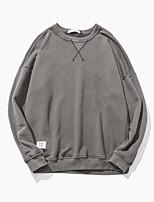 Sweatshirt Homme Décontracté / Quotidien Couleur Pleine Col en U non élastique Coton Manches longues Automne Hiver