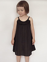 Girl's Solid Color Dress,Cotton Summer Spring