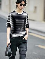 Tee-shirt Femme,Rayé Imprimé Décontracté / Quotidien simple Manches Courtes Col Arrondi Coton