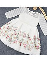 Девичий Платье Цветочный принт Без рукавов