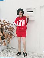 Для женщин На каждый день Пляж Лето Толстовка Брюки Костюмыпросто Уличный стиль Однотонный Буквы