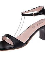 Women's Sandals Comfort Rubber Summer Outdoor Walking Comfort Buckle Chunky Heel White Black Under 1in