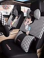 Car Seat Cushion Car Ceat Cushion Cets Of Family Car Cartoon Cute Ice Silk Cloth Material Black-And-White Grid-210